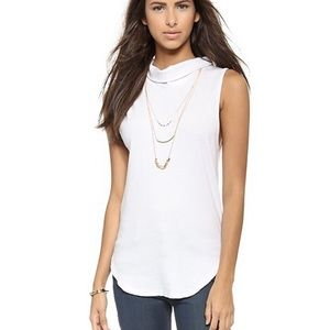 Free People Sleeveless White Turtleneck Top L
